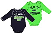 100% cotton Screen printed team graphics Three snap closures at the bottom This set includes two different graphic long sleeve creepers Officially licensed by the NFL