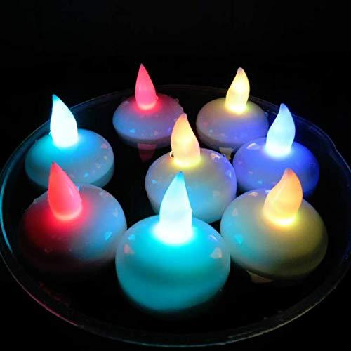 LED-Schwimmkerzen,12 Stück,wasserdicht,flammenlose Kerzen,batteriebetrieben,schwimmende Teelichter für Hochzeit,Weihnachten,Halloween,Geburtstagspartys,Bad,Spa,Pool,Teich etc.Farblicht