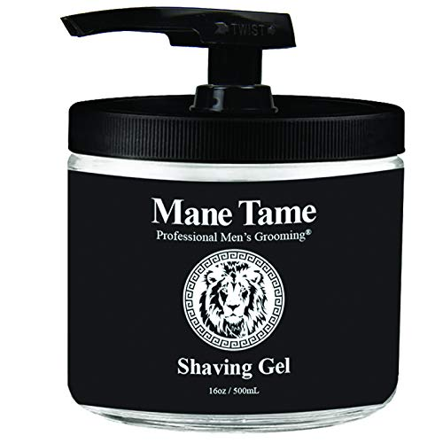 Mane Tame Shaving Gel 15.8oz - Clear, Natural Formula with Aloe Vera, Vitamin E, Vitamin C! Excellent for Precision Edge-ups and Line-ups. Made in USA! Fresh scent, leaves skin feeling soft and firm!