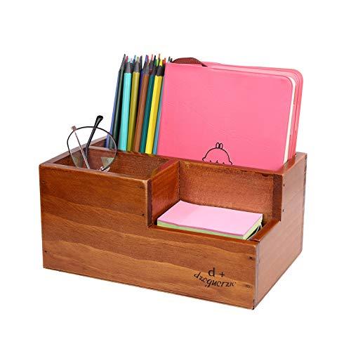 sorliva Organizador de escritorio de madera vintage, con 4 compartimentos, soporte para teléfono, funda de almacenamiento natural, suministros de oficina para lapicero remoto, soporte de escritorio