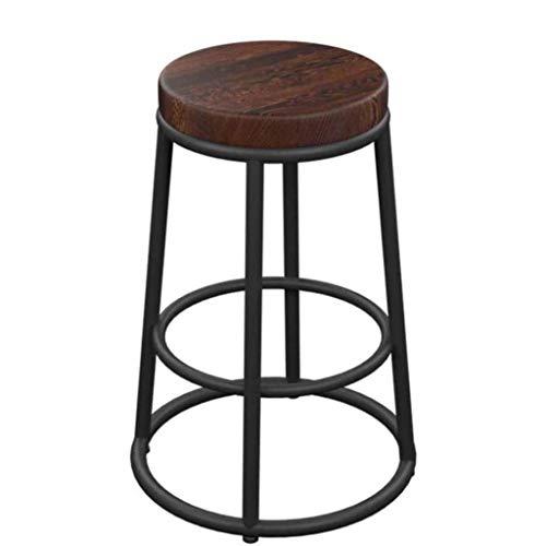 NYDZ Taburete de bar de desayuno, sillas de altura de cocina, con reposapiés, taburetes de madera de acero cromado, patas de metal, taburetes de bar rústico alto, marco y asiento de madera maciza industrial Cojín de madera maciza.