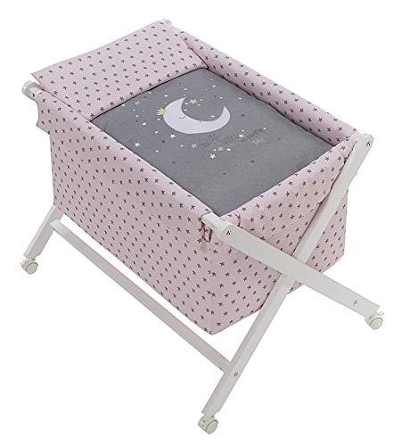 Minicuna Tijera madera Luna Universo Rosa, incluye Textil exterior + Colchón + Colcha + Almohada