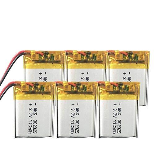 ahjs457 6 uds 3,7 V Lipo Celdas 302025 110 mah batería Recargable de polímero de Litio para Pluma de Lectura Pulsera Inteligente Auriculares Bluetooth MP3