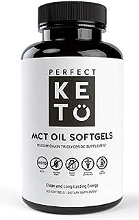 Perfect Keto MCT Oil Softgels   300 Coconut Oil Capsules   Ketogenic Ketosis Diet Supplement   Caprylic Acid (C8) & Capric...