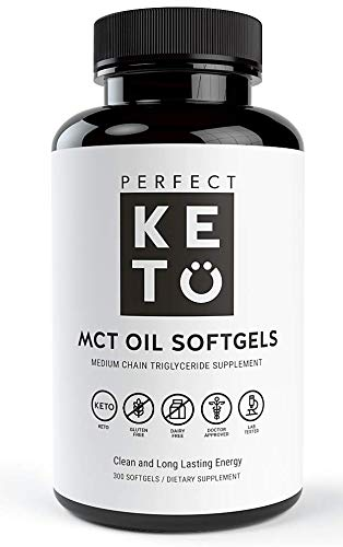 Perfect Keto MCT Oil Softgels with C8 C10 300mg – Pure Medium Chain Triglycerides Supplement Pills from Organic Coconut - Best for Ketogenic Diet,Clean Energy, Brain Power for Men Women – 300 Capsules
