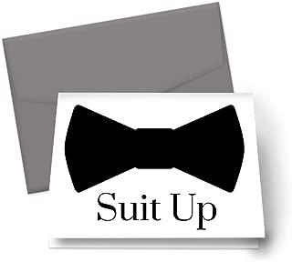 Suit Up Cards for Asking My Groomsmen Best Man Proposal Set of 8 (Grey Envelopes)