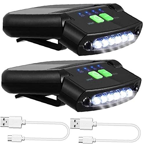 Eaarliyam Sombrero de luz, faros LED Clip de cabezal de la antorcha recargable de la linterna LED de la noche las luces del casquillo USB super brillante lámpara de inspección para la pesca que acampa