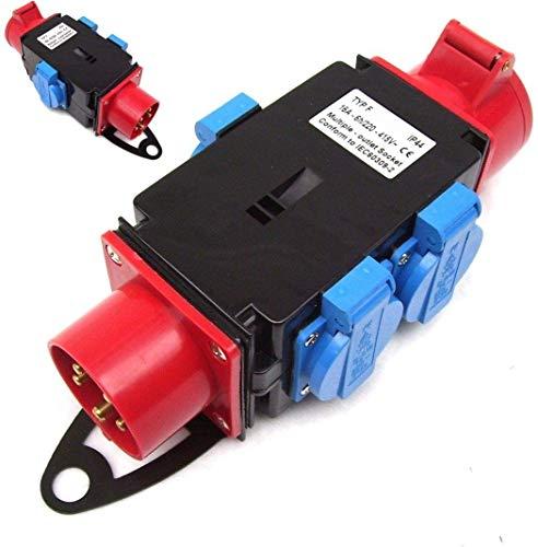 Stromverteiler 55472 Baustromverteiler 1x400V 3x230V 16A Kraftstrom Adapter AWZ