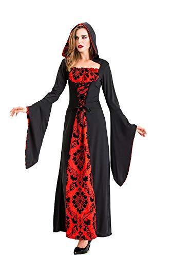 chuangminghangqi. Costumi da Strega per Halloween - Cosplay Vampiro Vestito Lungo Carnevale Maghi Abito Oversize Manica Lunga (L, Nero-6015)