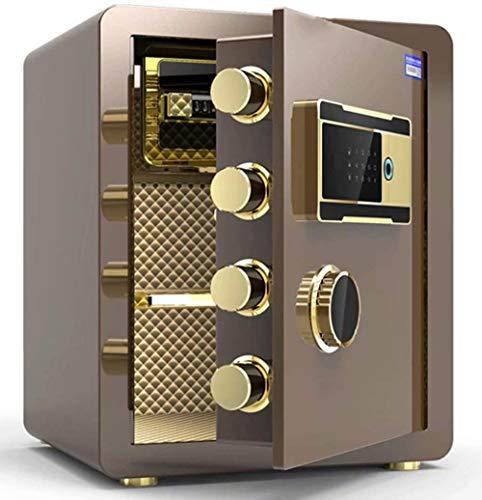 Tresore Safe Haushalt Fingerabdruck Passwort Safe Einbau-Alarmanlage Sicherheit Stahl Anti-Diebstahl-feuer- und wasserdicht elektronische 36 * 33 * 45 cm Möbeltresore (Color : Brown)