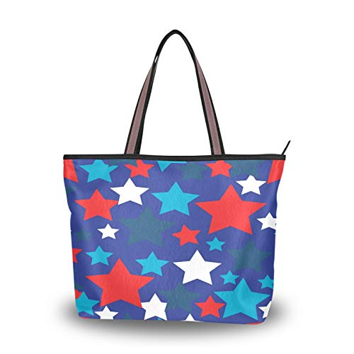JUMBEAR Bolso de lona para mujer, diseño de bandera americana, estrellas, acuarela abstracta, para compras, L, color, talla Medium