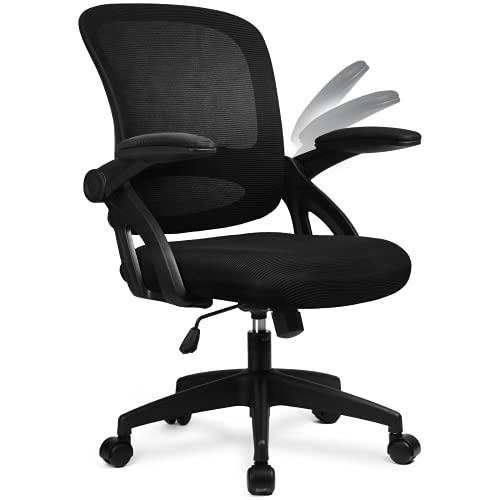 COMHOMA Bürostuhl mit hochklappbaren Armlehnen, Ergonomischer Schreibtischstuhl, Drehstuhl Chefsessel Netz Stuhl Schwarz