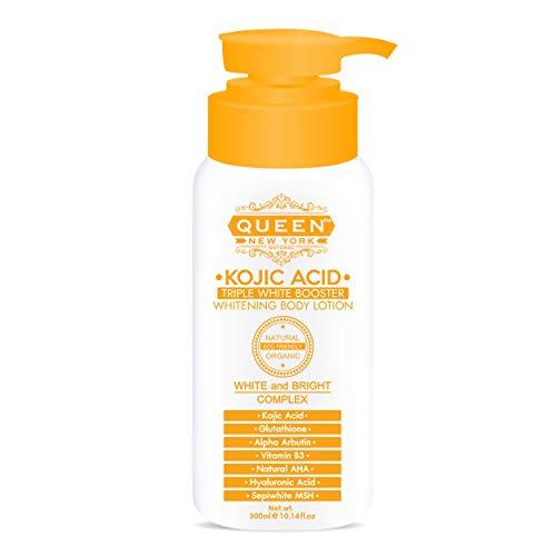 QUEEN NATURAL NEW YORK   Kojic Acid Triple Booster Skin Brightening Body Lotion-Kojic Acid, Alpha Arbutin, Ginseng Extract, Nicacinamide(B3) (Pack of 1)