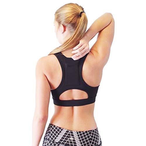 Yvelands Damen Yoga-BH Einteiler Sport-BH atmungsaktiv Fitness 1/2 BH Yoga-BH mit Tasche(Schwarz,XL)