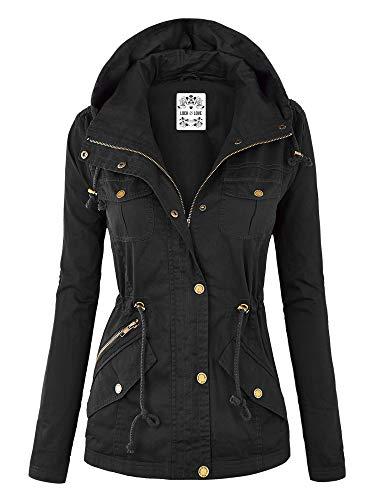 Lock and Love WJC643 Womens Pop of Color Parka Jacket M Black