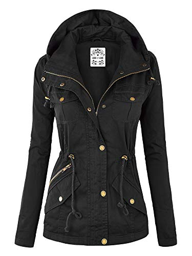 Lock and Love WJC643 Womens Pop of Color Parka Jacket M Black