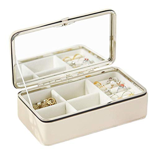 ZYYH Jewelry Box Organizer Travel Portable Jewelry Display Tray Storage Case with Mirror Girls Teens Women Holder for Earring Ring Necklace Bracelet PU Leather, Creamy-white
