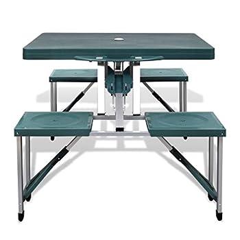 vidaXL Table de Pique-Nique Jardin Verte Pliante à 4 sièges légère en Aluminium