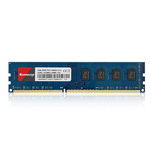 Kuesuny 4Go Kit DDR3 1333 Udimm RAM, PC3-10600 PC3-10600U 1.5V CL9 240pin Non-ECC Unbuffered Desktop Memory Module for Intel AMD System