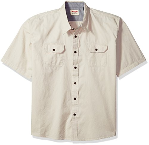 Wrangler Authentics Authentics Men's Short Sleeve Classic Woven Shirt, pumice stone, XL