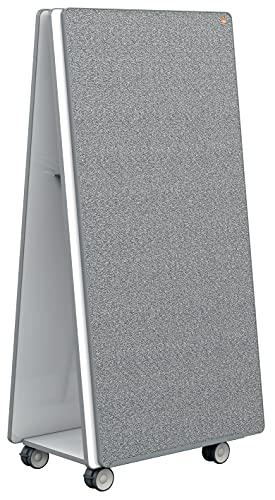 Nobo Move & Meet Collaboration System Set di 2 Lavagne Magnetiche in Acciaio / Bacheche Bifacciali con Base Mobile e Accessori, 1800 mm x 900 mm - Bianco