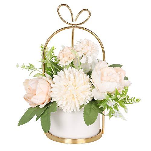 Hobyhoon Fiori artificiali in vaso, fiori artificiali come veri, ortensie, fiori di seta per decorazione di nozze, decorazione da tavolo, soggiorno, camera da letto, stanza (vaso di marmo – rosa)
