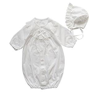 夏物素材 新生児ベビードレス 日本製 丸ヨーク お宮参り退院時におすすめ お帽子付き2点セット