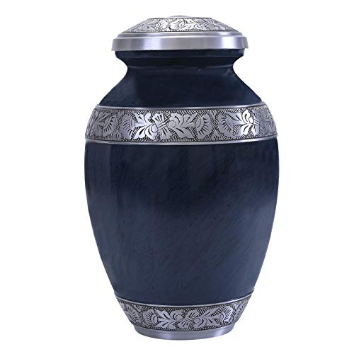GSM Brands Cremation Urn Holds Adult Human Ashes (Extra Large Capacity) - Handcrafted Funeral Memorial with Striking Blue Design (12 Inch Height x 7.75 Inch Width)