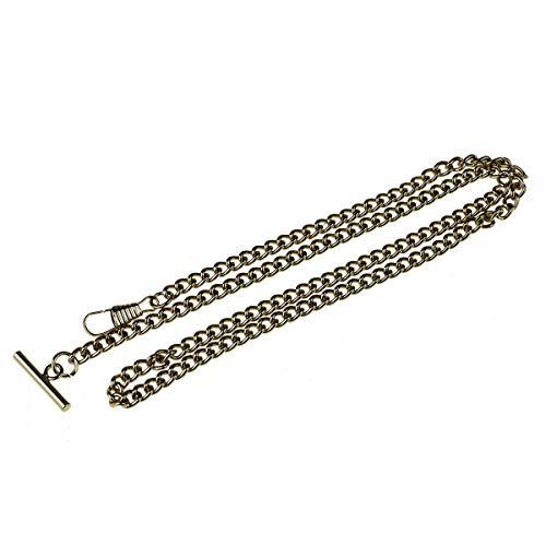 dPois Retro Vintage Taschenuhrkette Uhrkette mit T-BAR Haken Damen Frauen Flach Einzelne Kette Chain für Weste Anzug Bronze One Size