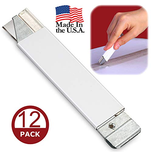 Box Cutter, Retractable Cardboard Cutter, Safety Mini Package Opener, Scraper, Single Edge Razor Blade Box Opener, Utility Knife Set for Packages, Letters, and Papers, All Metal Tap Knife (Box of 12)