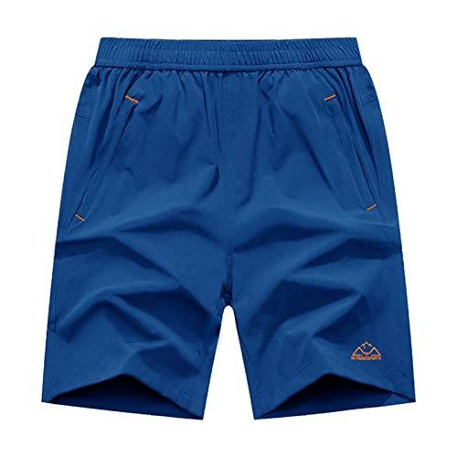 BASUDAM Men's Workout Running Shorts Quick Dry Lightweight Gym Athletic Shorts Zipper Pockets Blue XXL