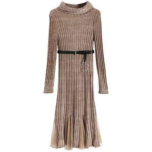 BINGQZ Gebreide jurk vrouwelijke winter nieuwe trui plus mesh over de knie rok mode lange paragraaf herfst en winter rok