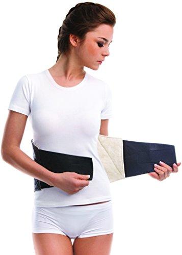 Cinturón cálido para la espalda baja; Faja de calentamiento; facilidad espasmos musculares; Alivio y recuperación del dolor de espalda; Calor natural; Forro de lana 100% Small Negro