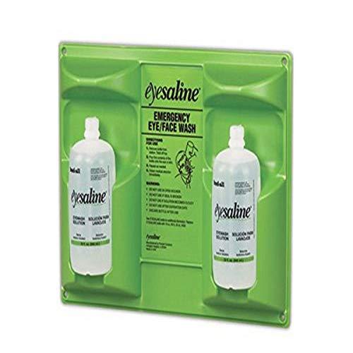 Honeywell Home-32-000462 32 oz. (946 ml) Double Bottle Sterile Saline Eye Wash Wall Station (Trilingual, Includes 2 Full Bottles) - Green/Clear