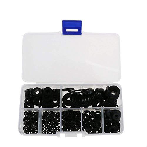 Kit de surtido de arandelas planas de nylon negro de 500 piezas para perno de tornillo M2 M2.5 M3 M4 M5 M6 M8