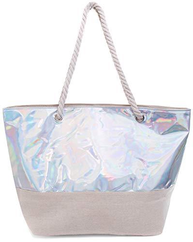 Faera Strandtasche glänzender schimmernder XXL Shopper Beach Bag mit breiter Kordel Schultertasche, Taschen Farbe:Schimmernd