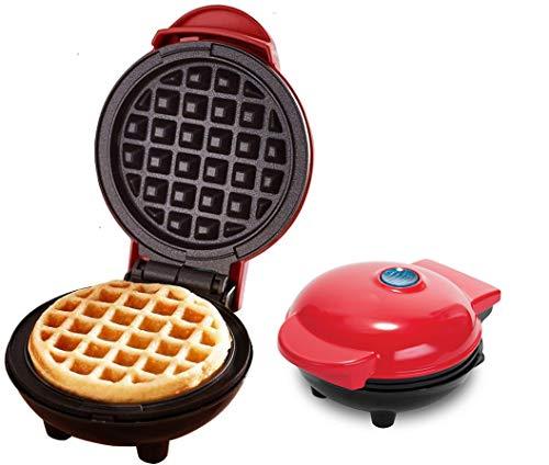 Ousyaah Mini Plancha para Waffle, Gofrera, 350W de Potencia, Waflera con Moldes Antiadherentes, Hacer Rosquillas, Magdalenas y Gofres