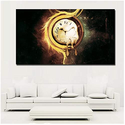 A&D Künstlerische Uhren Surrealismus HD Drucke Abstrakte Kunst Leinwand Malerei Abstrakte Malerei Wandkunst Drucke Poster für Wohnzimmer Decor-50x90 cm Kein Rahmen