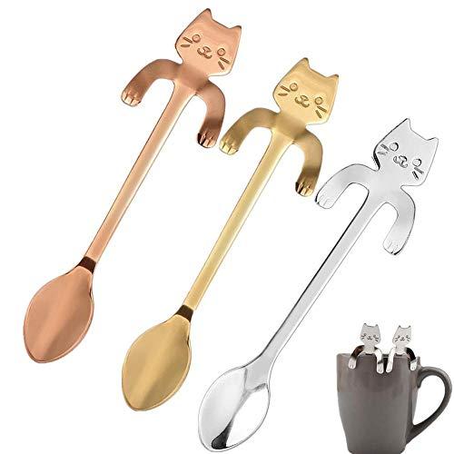 Aeromdale Kaffeelöffel, Mini-Katze, Edelstahl, für Tee, Suppe, Zucker, Dessert, Vorspeisen, Gewürze, Bistro-Löffel
