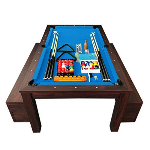 Mesa de billar de 7 pies color azul Convertible con banquetes - Theti