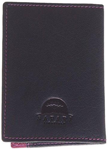 Leder Oyster Card/Travel Pass Halter von Safari, Navy / Berry (Blau) - 5307 46 76