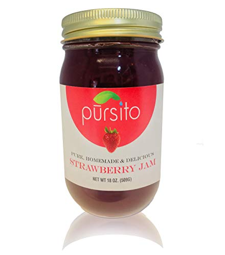 Pursito Homemade Delicious Real Strawberry Jam Spread for Bread, Cheese, Snacking and Recipes 18 ounces Pure Vegan Natural No High Fructose Corn Syrup