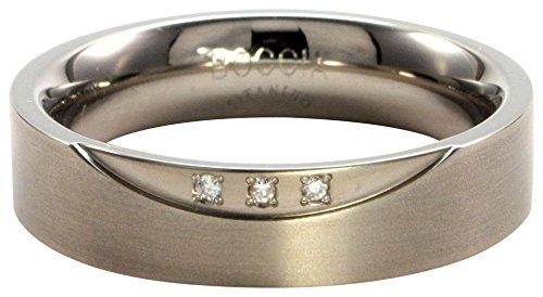 Boccia Damen-Ring Titan mattiert Diamant (0.045 ct) weiß Brillantschliff Gr. 55 (17.5) - 0138-0255
