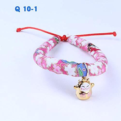 YLCWZD Cane Vestiti Cappottocollare per Gatto Stile Giapponese Cat Bell Collare Regolabile Anello Collare Cat Corda Collana Pet Gioielli Regalo per Gatti di Natale, Q-10