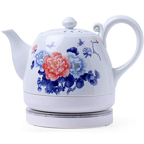 Hervidores - Tetera Blanca inalámbrica eléctrica de cerámica, 0,75 l, 1000 W hierve Agua rápidamente para té, café, Sopa, Avena, Base extraíble, protección para hervir en seco