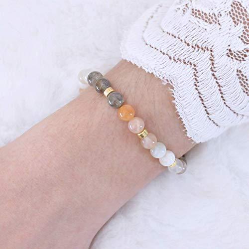 Echtes Mondstein Armband Damen, elastisch, 925 Silber oder vergoldet, perfekte Geschenk-Idee für Frauen