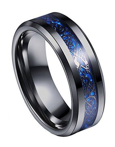 8mm Tungsten Carbide Ring Silvering Celtic Dragon Blue Carbon Fibre Inlay Wedding Band Size 6-13 (12, Black)