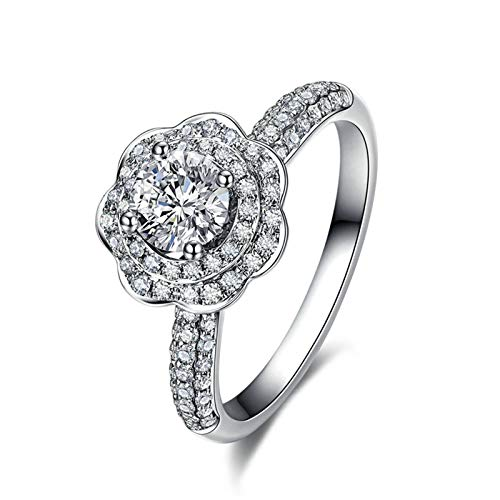 Daesar Anillos de Oro 18K Blanco,Anillo Mujer Matrimonio Plata Flor 4 Garras 0.35ct Diamante Blanco 0.37ct Anillo Talla 28