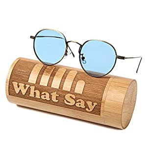 What Say カラーレンズ フラット ボストン メタル フレーム サングラス ヴィンテージ トレンド UV400 メンズ レディース ソフト & ハードケース 付 (ライト ブルー/アンティークゴールド)