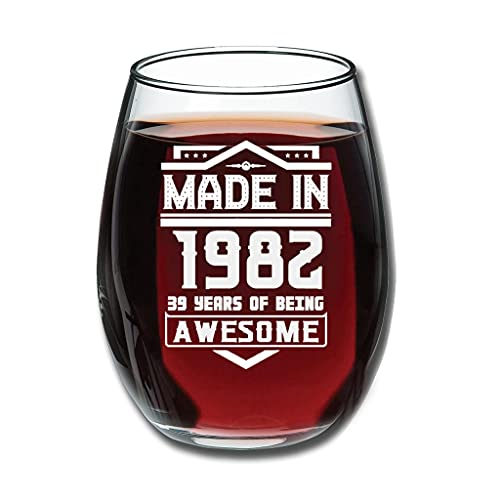 Lind88 Vino tinto sin tallo, hecho en 1982, cristalería, grabado de actualización – transparente decoración de Halloween blanco 350 ml